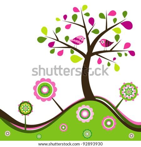 Floral spring background, vector illustration - stock vector