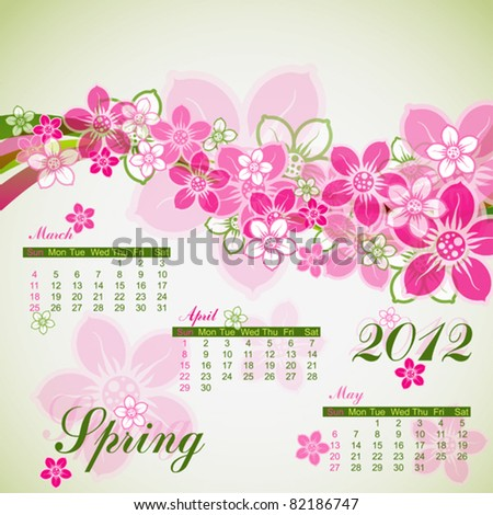 Floral spring calendar 2012, vector illustration, eps10 - stock vector