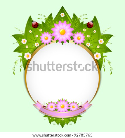 Floral spring decoration with leaves, flowers and ladybugs - stock vector