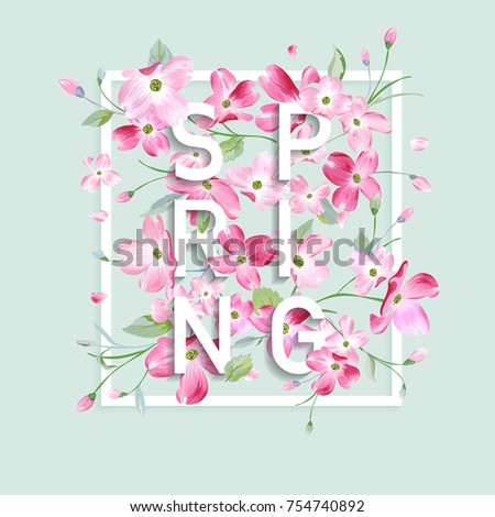 Floral Spring Graphic Design With Cherry Blossom Flowers For T Shirt Fashion Prints In