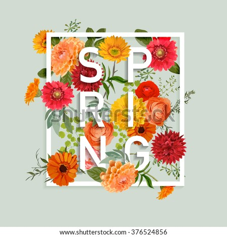 Floral Spring Graphic Design - with Colorful Flowers - for t-shirt, fashion, prints - in vector - stock vector