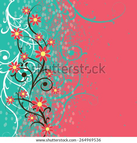Floral spring romantic background. Vector illustration. - stock vector