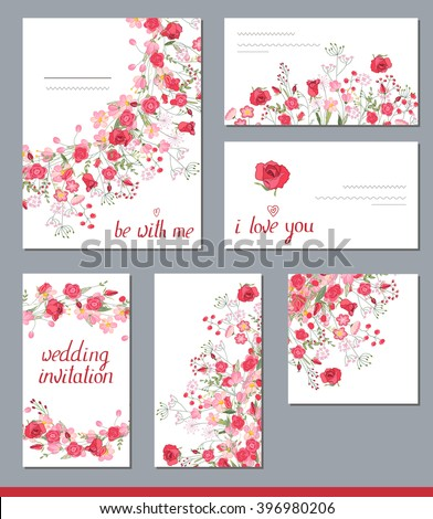 Floral spring templates with cute bunches of red roses.  For romantic and wedding design, announcements, greeting cards, posters, advertisement.