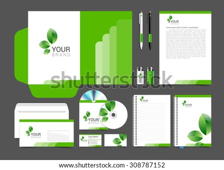 Floral stationery template design with green leaves. Documentation for business. - stock vector