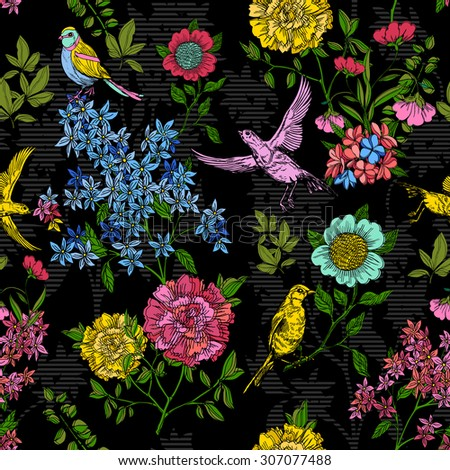 Floral Style Pattern With Birds And Flowers Black Vintage Background Vector Wallpaper Creative