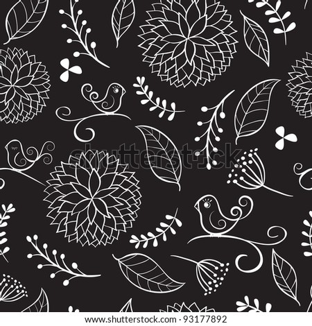 Floral summer background with birds. Vector illustration