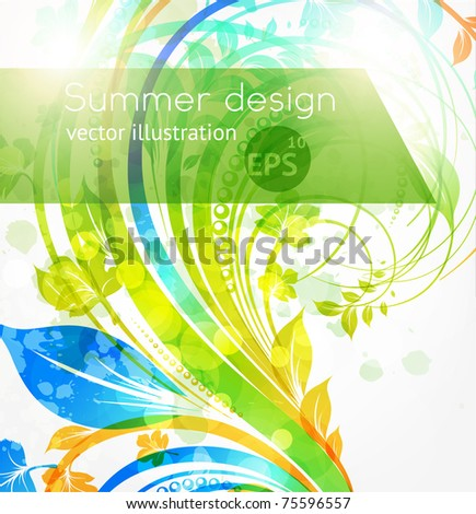 Floral summer design elements with sun shine. Flower abstract bright background for retro design. Vector. eps 10. - stock vector