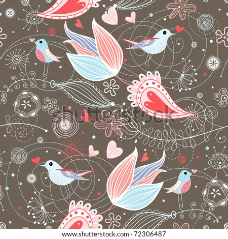 floral summer pattern with birds - stock vector