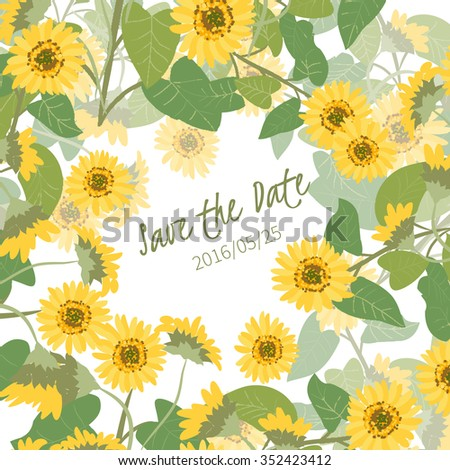 Floral Sunflower Retro Vintage Background Vector Illustration