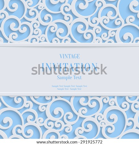 Floral  Swirl Vector Blue 3d Christmas or Weddind Invitation Cards Background with Curl Damask Pattern - stock vector