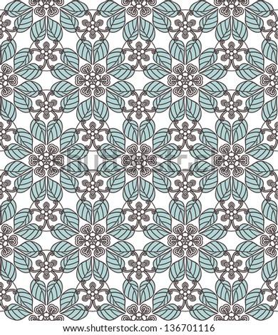 Floral symmetric seamless background. Vector illustration. - stock vector