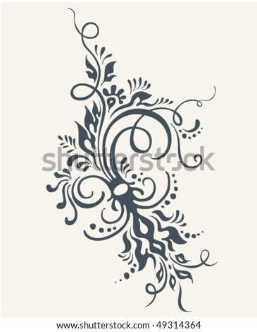 Floral tattoo vector ornament. Vintage decor - stock vector