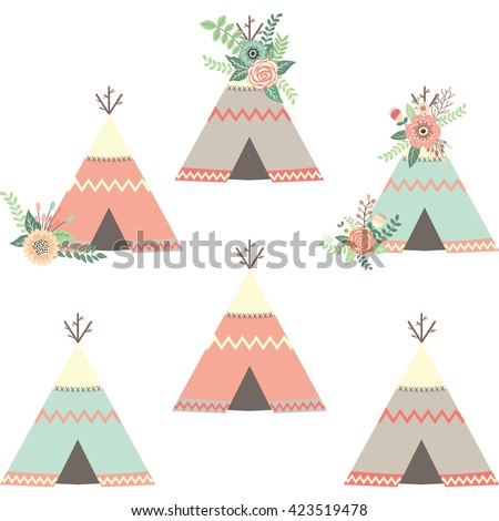 Floral Teepee Tents.Tribal Set.  sc 1 st  Shutterstock & Floral Teepee Tentstribal Set Stock Vector 423519478 - Shutterstock