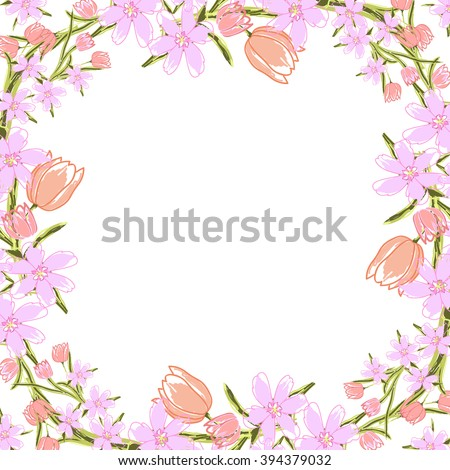 Floral Template For Romantic, Wedding Design, Paper Or Textile Products.  Floral Frame With  Paper Design Template