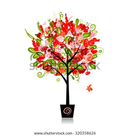 Floral tree in the pot for your design, vector illustration - stock vector