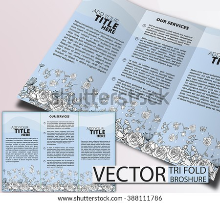 Floral Tri Fold Brochure, brochure or cover design, can be use for publishing, print and presentation. - stock vector