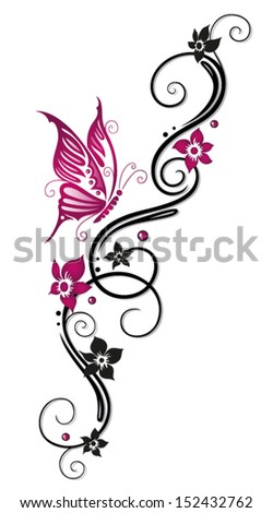 Floral tribal, tattoo in black and pink - stock vector