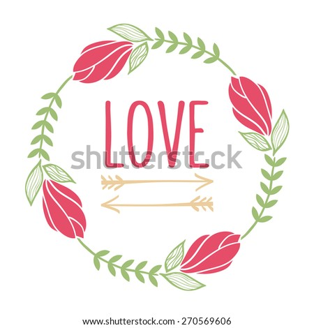 Floral Tulip hipster wreath. Suitable for wedding invitations and various greeting cards. - stock vector