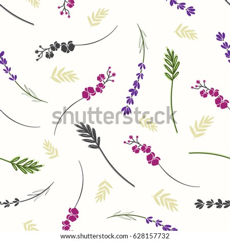 Floral twigs pattern. Cute multicolor background with plants branches, leaves and twigs.