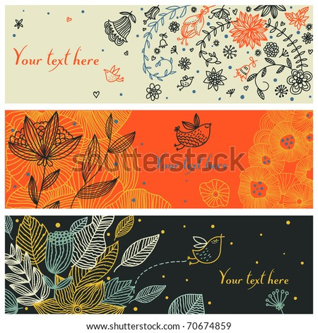 Floral vector banners with birds - stock vector