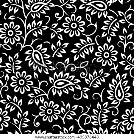Floral vector black white background stock vector 495876448 floral vector black and white background mightylinksfo