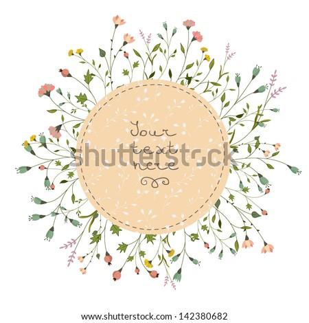 Floral vector card - stock vector