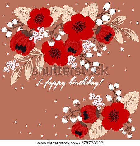 Floral vector happy birthday greeting card template