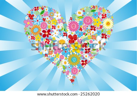 Floral vector heart - stock vector