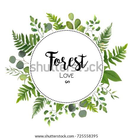 Floral vector invite card design green stock vector 2018 725558395 floral vector invite card design with green eucalyptus fern leaves elegant greenery leaf herbal forest round stopboris Images