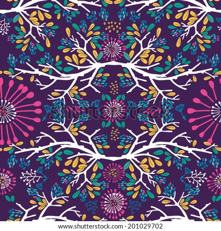 Floral vector lovely pattern in bright colors. - stock vector
