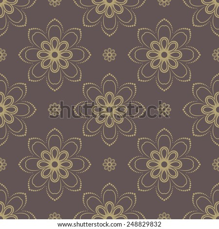Floral vector oriental pattern with damask and floral golden elements. Seamless abstract ornament for backgrounds - stock vector