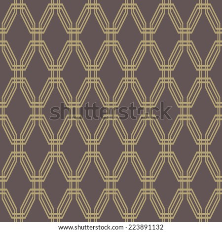 Floral vector oriental pattern with damask, arabesque and floral elements. Brown seamless abstract wallpaper and background - stock vector