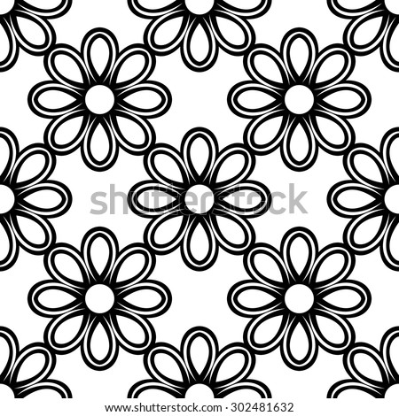 Floral vector ornament. Seamless abstract classic black and white pattern - stock vector