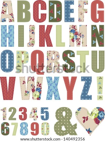 Floral Vector Pattern Alphabet Letter Set. Use to create words to add to craft projects. - stock vector