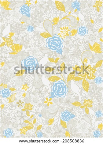 floral vector seamless background - stock vector