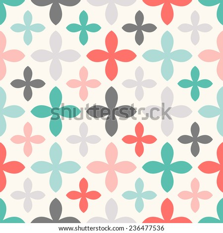Floral vector seamless pattern. Endless texture can be used for printing onto fabric and paper or scrap booking. Retro colors. - stock vector