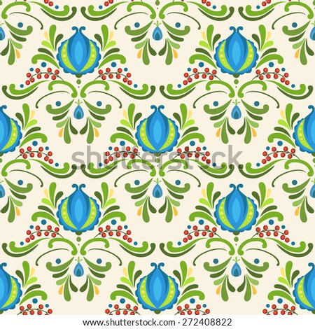 Floral vector seamless pattern in Eats European style. Blue flowers on light background - stock vector