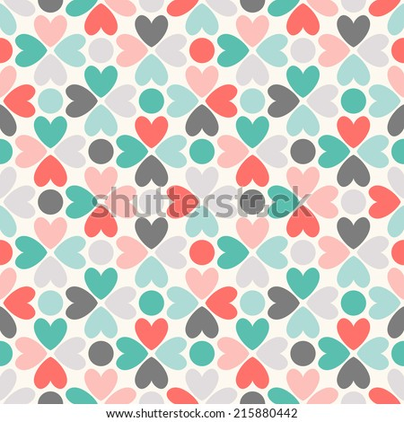 Floral vector seamless pattern. Red, green, black and white shabby colors. Endless texture can be used for printing onto fabric and paper or scrap booking. Flower abstract shape with heart. - stock vector