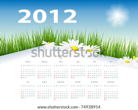 floral vector template with 2012 year  calendar