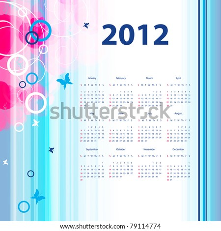 floral vector template with 2012 year  calendar. Eps10