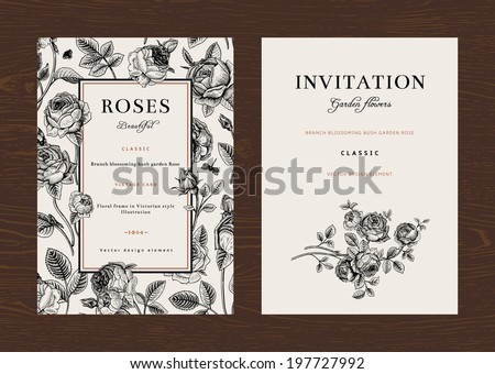 Floral vector vertical vintage invitation. Set. Black and white Garden Roses. - stock vector