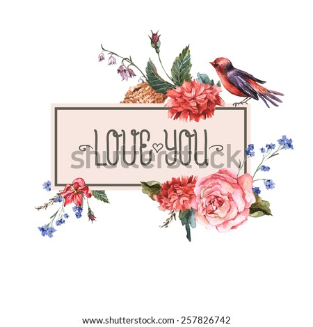 Floral Vector Vintage Card with roses, hyacinths, wild flowers and bird in vintage style, Watercolor illustration - stock vector