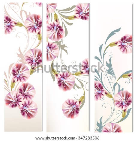 Floral vertical brochures set with flowers and ornament - stock vector