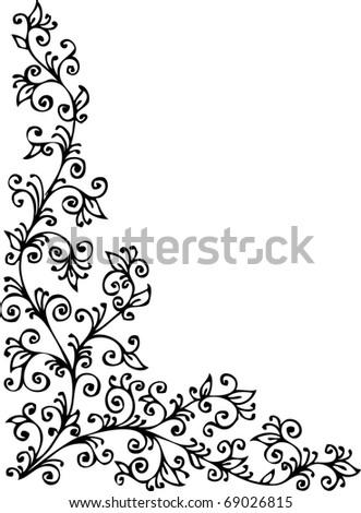 Floral vignette 423 Eau-forte decorative background texture vector illustration EPS-8 - stock vector
