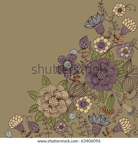 Floral vintage background - stock vector