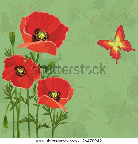 Floral vintage background green with flowers poppies and butterfly. Invitation or greeting card. Vector illustration - stock vector