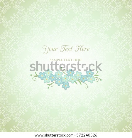 Floral vintage background with forget-me-not flowers. Vector EPS 10