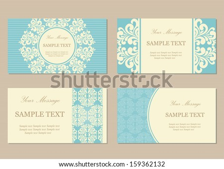 Floral vintage business or invitation cards - stock vector