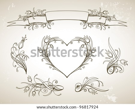 Floral vintage design elements and page decoration - stock vector