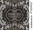 floral vintage label - stock vector